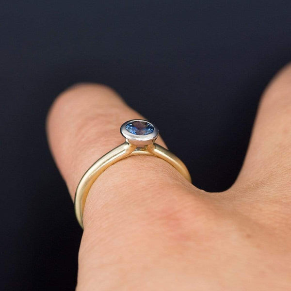 Mixed Metal Green/Blue Fair Trade Malawi Sapphire Engagement Ring