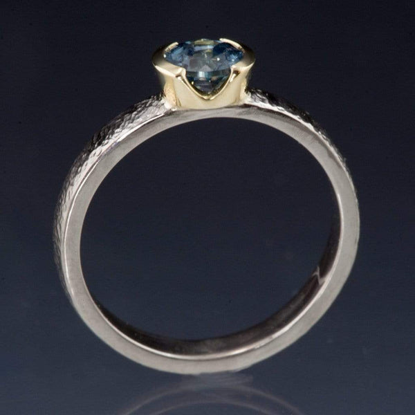 Blue/Teal Fair Trade Montana Sapphire Gold Semi-Bezel Engagement Ring