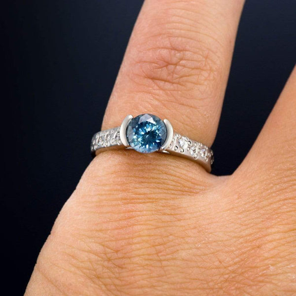 Fair Trade Blue Portuguese Cut Malawi Sapphire Half Bezel Diamond Star Dust Engagement Ring - by Nodeform