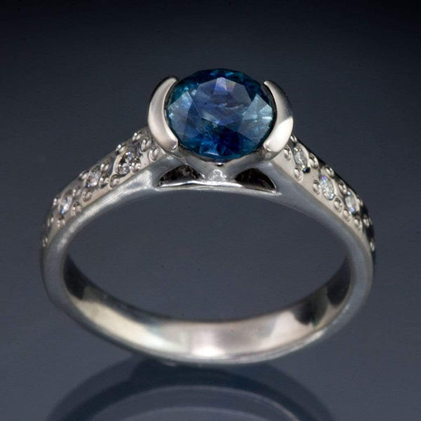 Master Cut Blue Montana Sapphire Half Bezel Diamond Star Dust Engagement Ring - by Nodeform