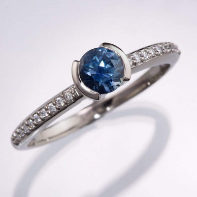 Fair Trade Blue Australian Kings Plain Sapphire Half Bezel Diamond Pave Engagement Ring - by Nodeform