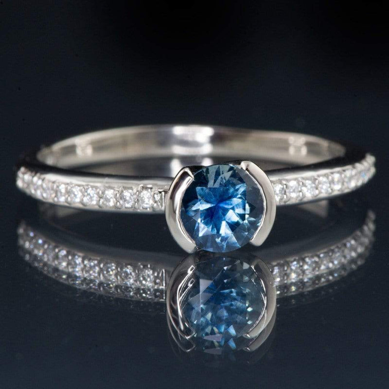 Fair Trade Blue Australian Kings Plain Sapphire Half Bezel Diamond Pave Engagement Ring