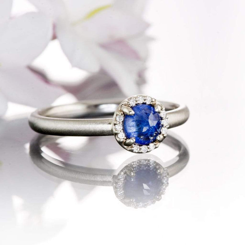 Blue Rose Cut Sapphire & White Diamond Halo White Gold Engagement Ring, size 4 to 9