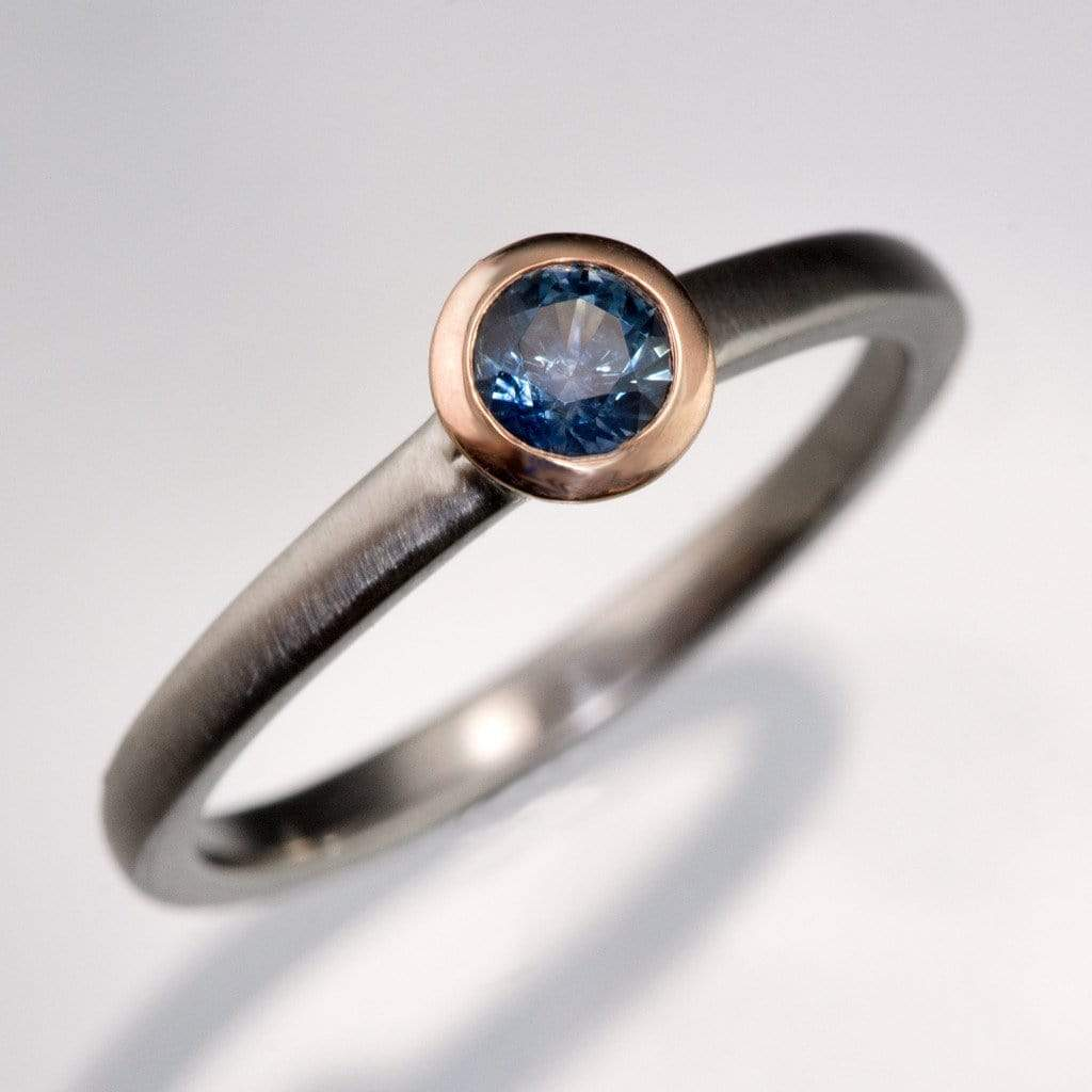 Mixed Metal Petite Bluegreen Round Montana Sapphire Engagement Ring
