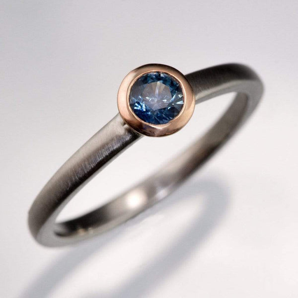 Mixed Metal Petite Blue-Green Round Montana Sapphire Engagement Ring