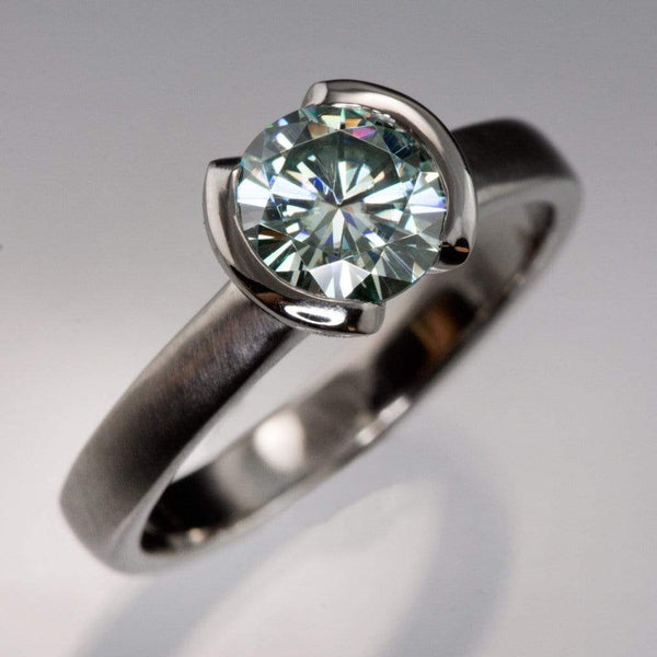 Round Blue 1ct Moissanite Half Bezel Solitaire Engagement Ring - by Nodeform