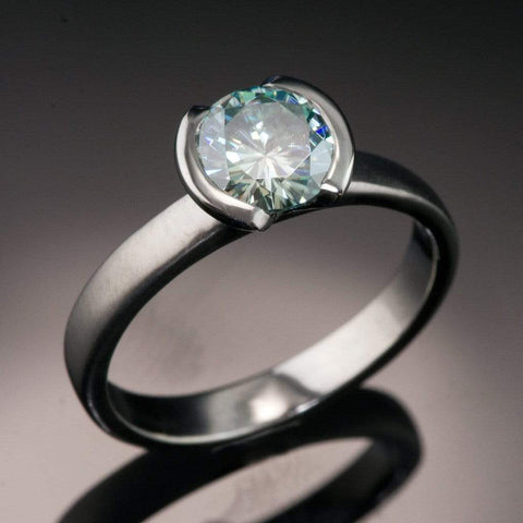 Round Blue 1ct Moissanite Half Bezel Solitaire Engagement Ring