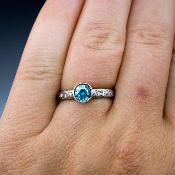 Blue Zircon Elevated Round Bezel Diamond Star Dust Engagement Ring - by Nodeform