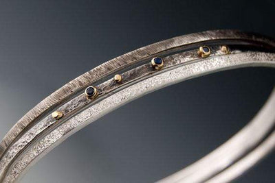 Textured Silver Bracelet Set with Blue Sapphires and 18k Gold Accents - by Nodeform