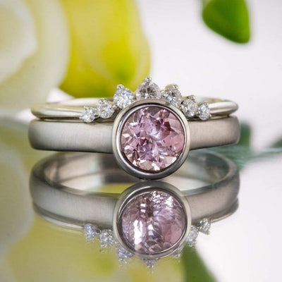 Bridal Set Chatham Champagne Pink Sapphire Peekaboo Bezel Engagement & Corinne Moissanite Ring - by Nodeform