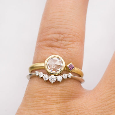 Rose Cut Moissanite & Accent Princess Ruby Bezel Set 18k Gold Engagement Ring, size 4 to 9