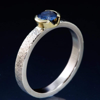 Blue/Teal Fair Trade Montana Sapphire Gold Semi-Bezel Engagement Ring - by Nodeform