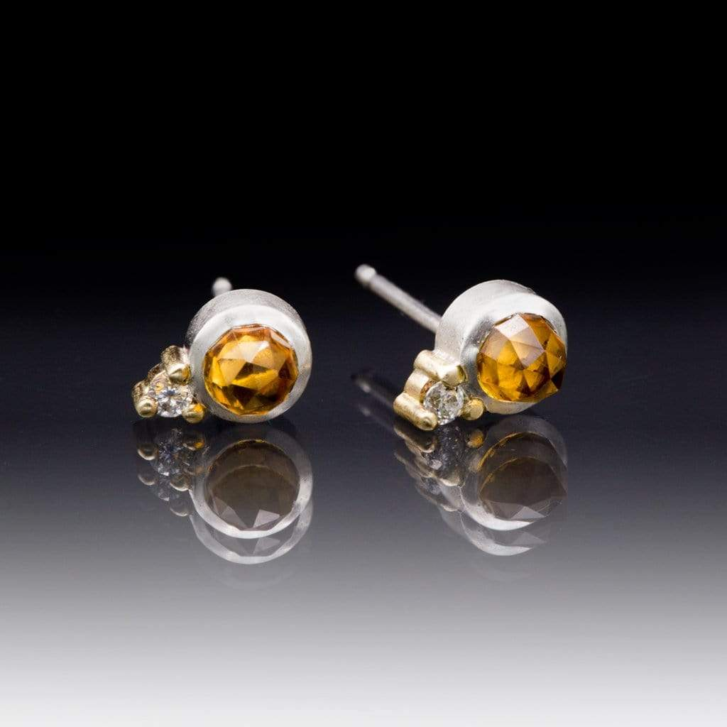 Citrine Bezel Set Sterling Silver Stud Earrings With Yellow Gold Moissanite Accents
