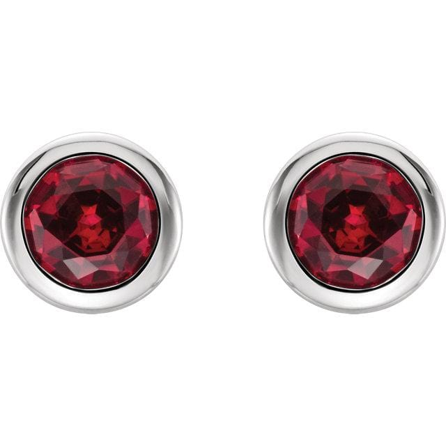 Ruby Bezel Set Stud Earrings