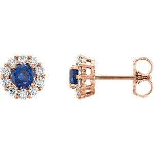 Chatham Created Blue Sapphire and Diamond Halo Stud Earrings