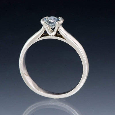 Pastel Blue to Green Montana Sapphire Cathedral Half Bezel Solitaire Engagement Ring