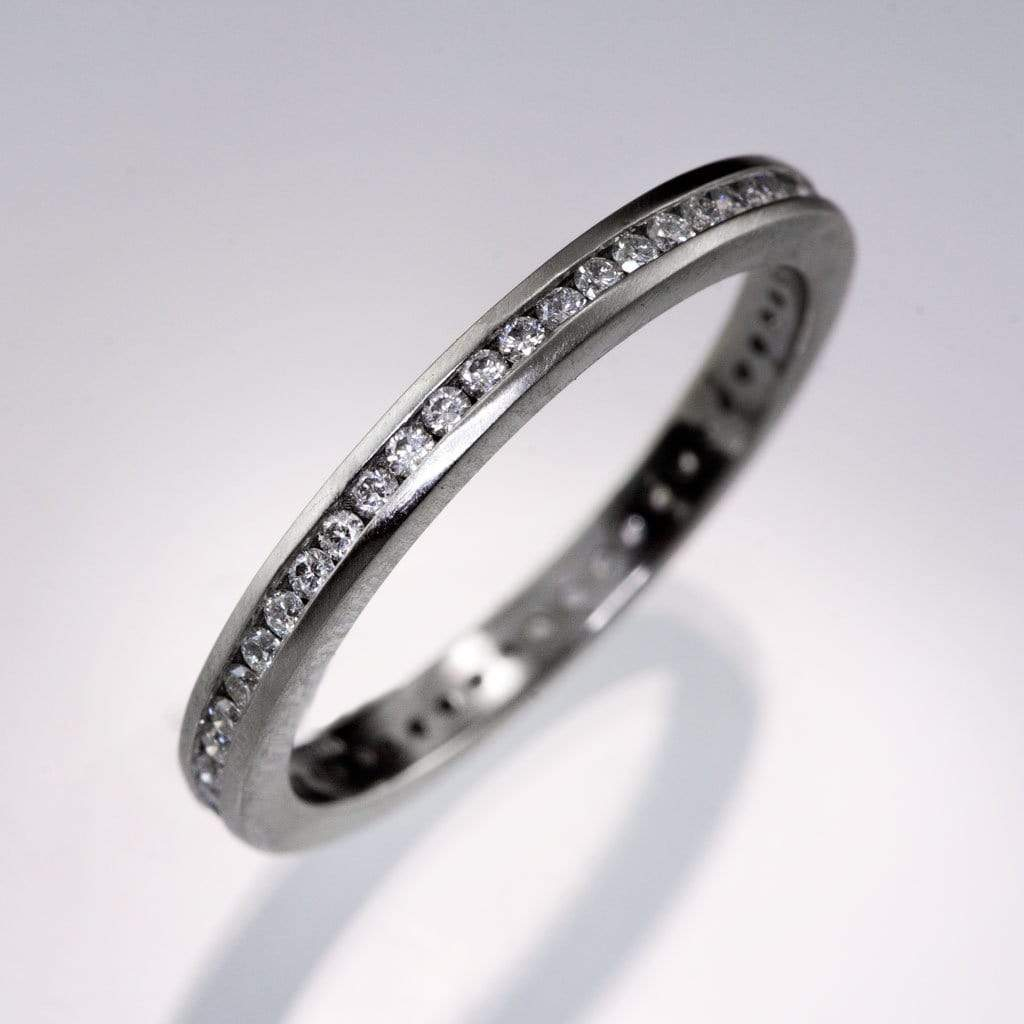 Channel Set Diamond or Moissanite Narrow Eternity Stacking Wedding Ring