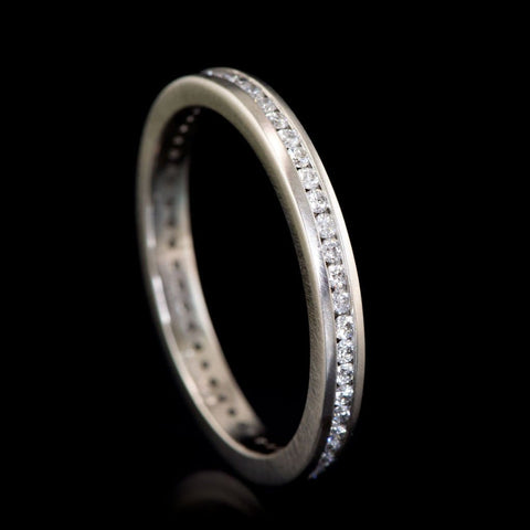 Channel Set Diamond Narrow Eternity Stacking Wedding Ring