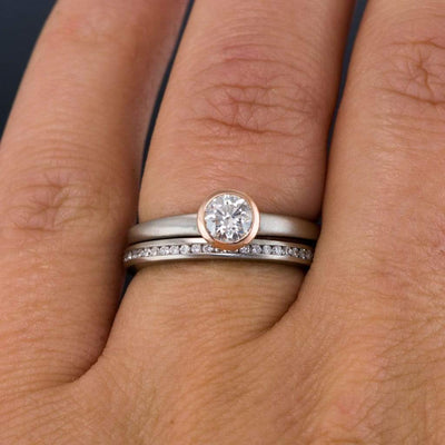 Channel Set Diamond Narrow Eternity Stacking Wedding Ring - by Nodeform