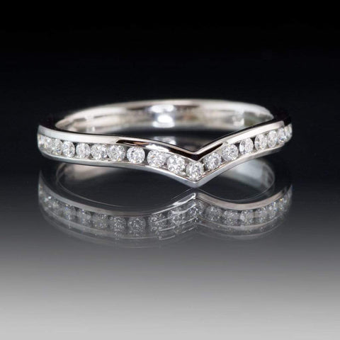 Vera Band - V-Shape Contoured Wedding Ring with channel-set Diamond, Moissanite, Ruby or Sapphire