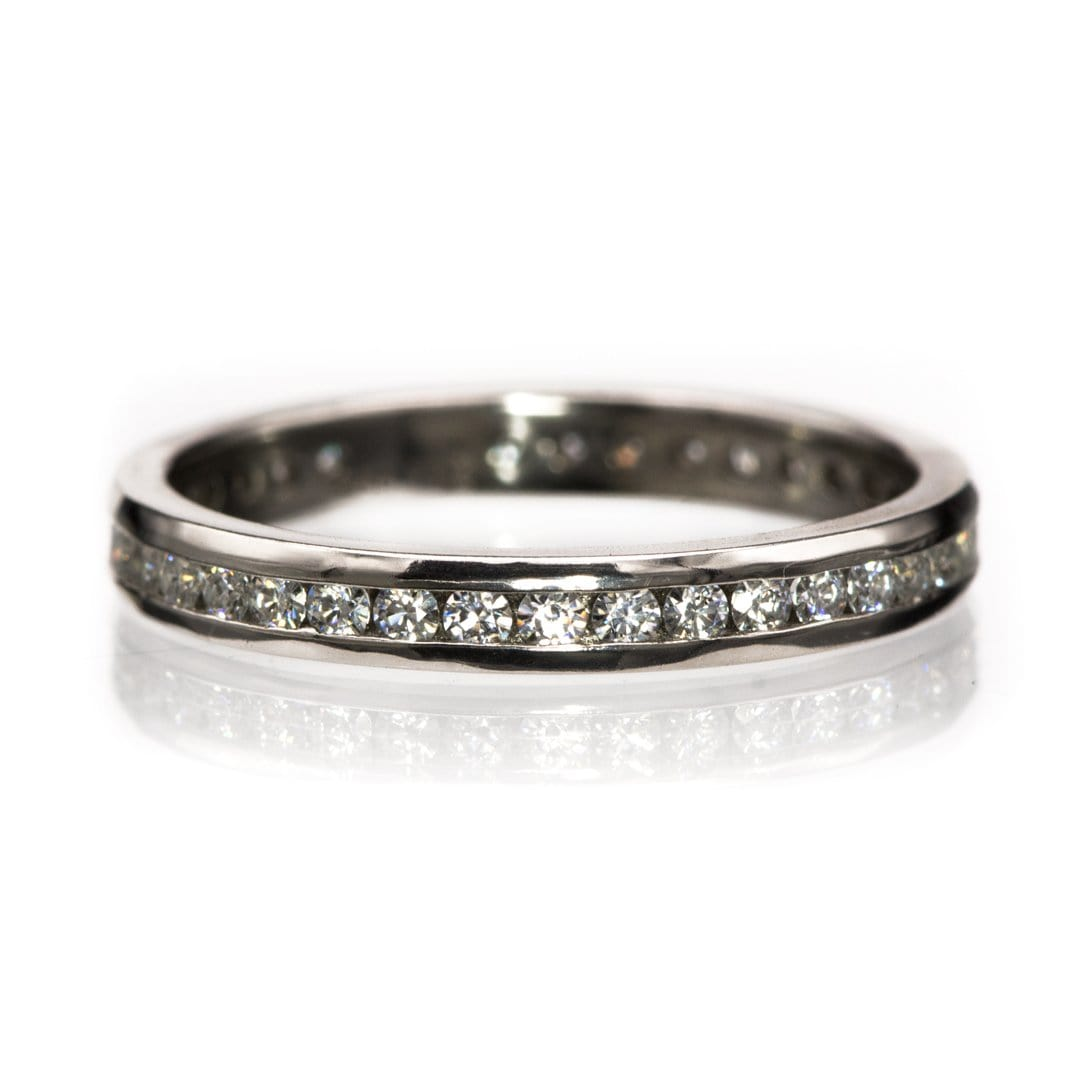 Moissanite, diamond or sapphire Channel Set Eternity Anniversary Wedding Band