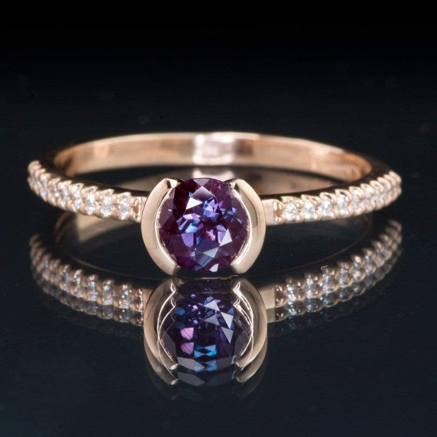 Chatham Alexandrite Half Bezel Diamond Pave Engagement Ring - by Nodeform