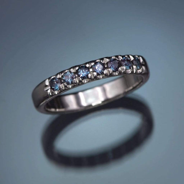 French Set Chatham Alexandrite Pave Ring Stacking Wedding Band
