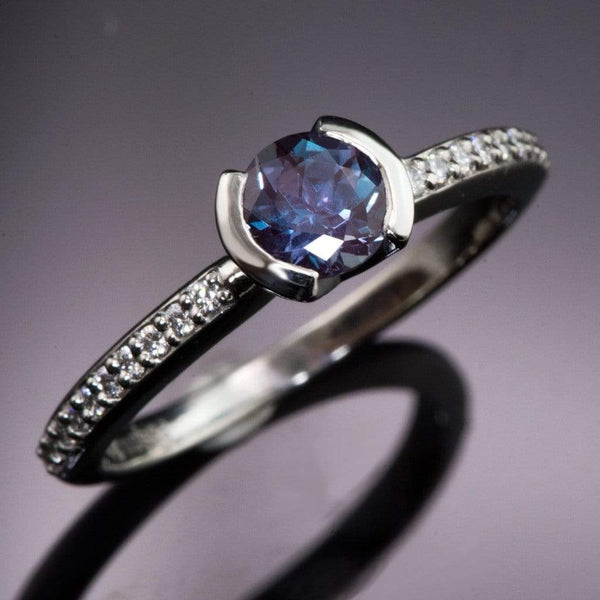 Chatham Alexandrite Half Bezel Diamond Micro Pave Palladium Engagement Ring, Ready to Ship size 5.5-6.5 - by Nodeform
