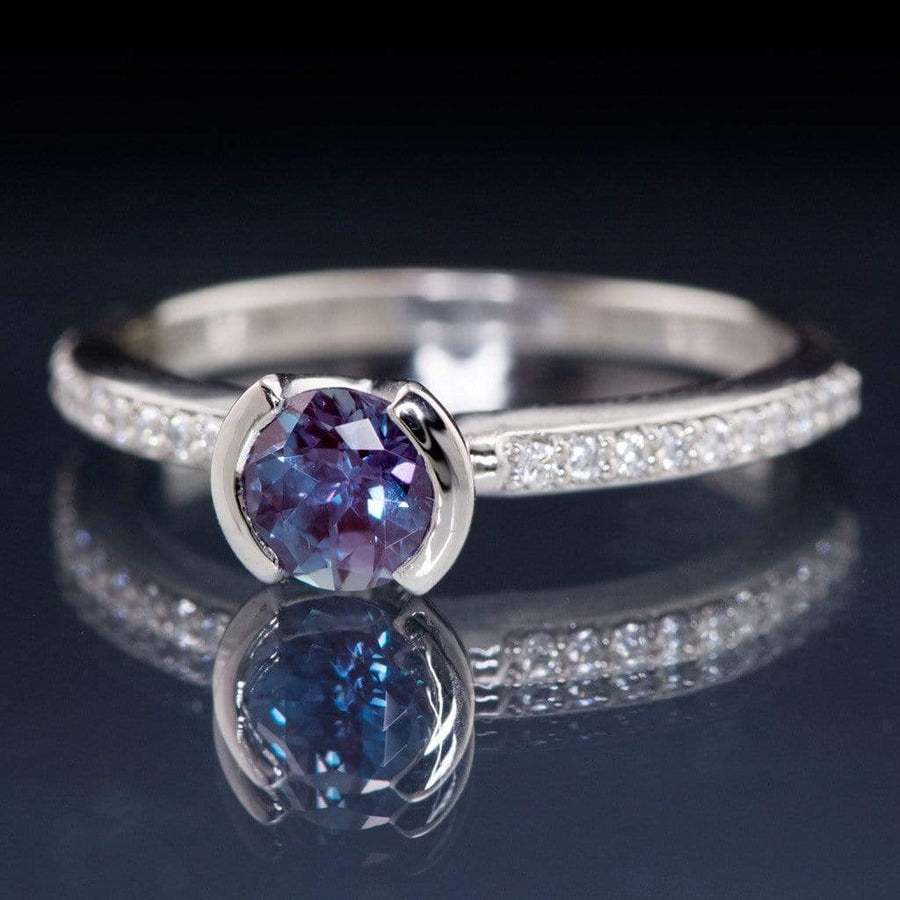 Chatham Alexandrite Round Half Bezel Diamond Micro Pave Engagement Ring - by Nodeform