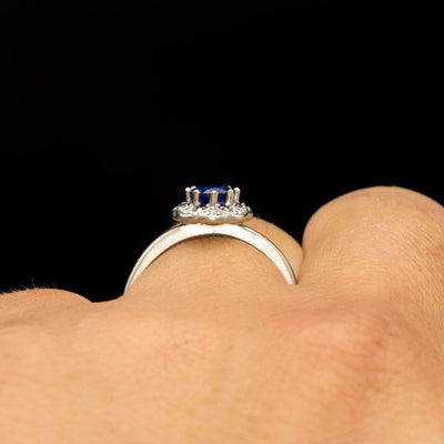 Chatham Blue Sapphire, Black & White Diamond Halo Palladium Engagement Ring, size 4 to 9