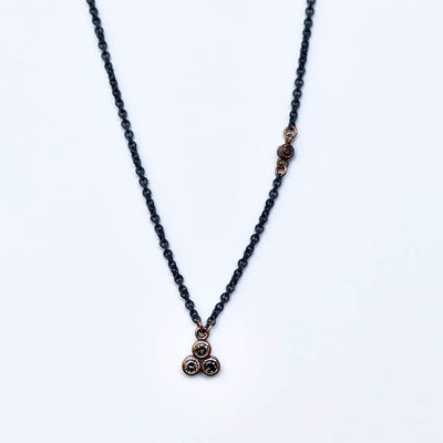 Congnac Diamond 14k Rose Gold Textured Trio Bezel Pendant Necklace with Oxidized Sterling Chain, Ready to Ship