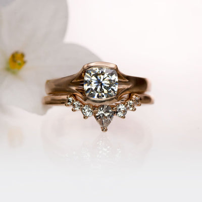 Gray Cushion Cut Moissanite Fold Semi-Bezel Set Solitaire Engagement Ring