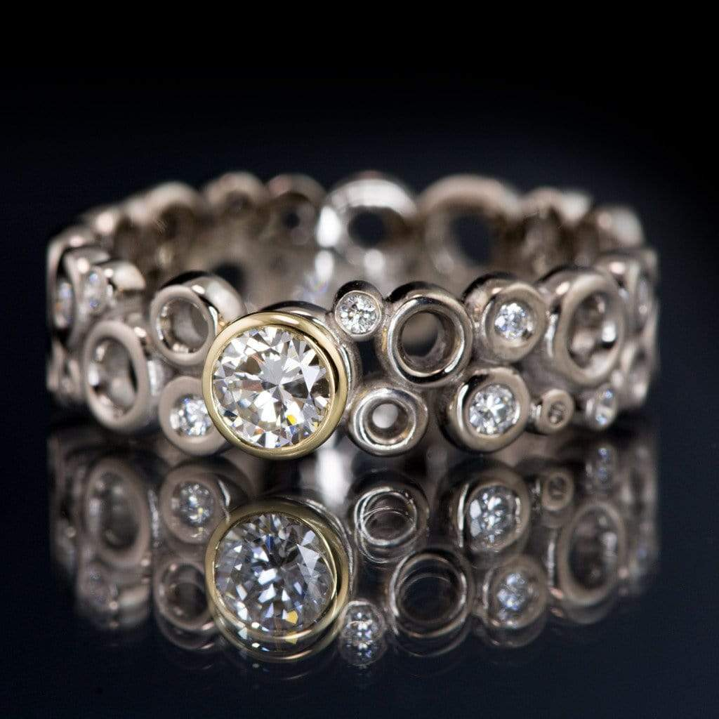 Cluster Bezel Set Diamond Wedding or Engagement Ring with Recycled Diamond Accents