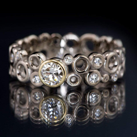 Cluster Bezel Set Diamond Wedding or Engagement Ring with Recycled Diamond Accents - by Nodeform
