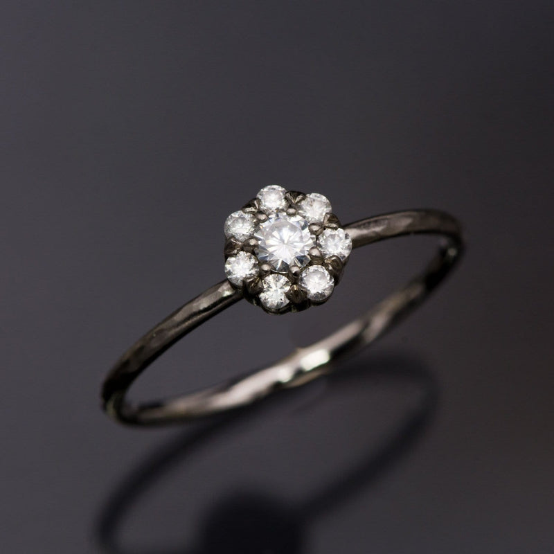 Cluster Moissanite Palladium Stacking Ring, size 4 to 9