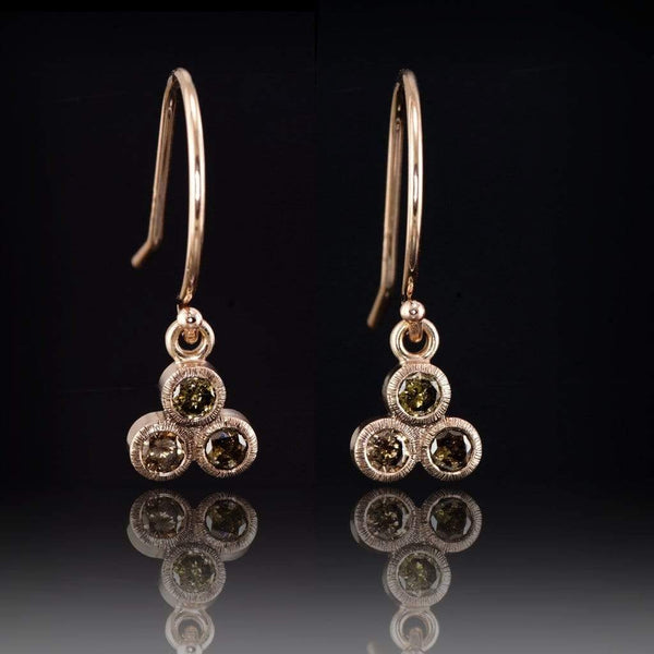 Congnac Diamond Textured Trio Bezel Dangle Earrings - by Nodeform