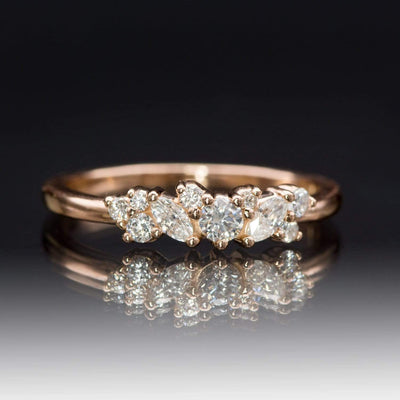 Colette Ring - Cluster Marquise & Round Shape Diamonds, Moissanites, Rubies or Sapphires Stacking Ring