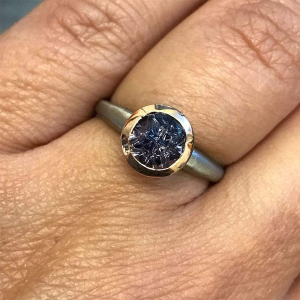 Mixed Metal Color-change Songea Sapphire Engagement Ring, size 5 to 8