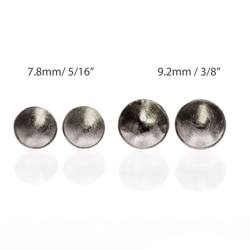 Concave Round Simple Palladium Studs Earrings