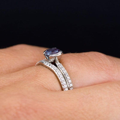 Blue/ Green Eldorado Bar Montana Sapphire Half Bezel Diamond Micro Pave Engagement Ring - by Nodeform