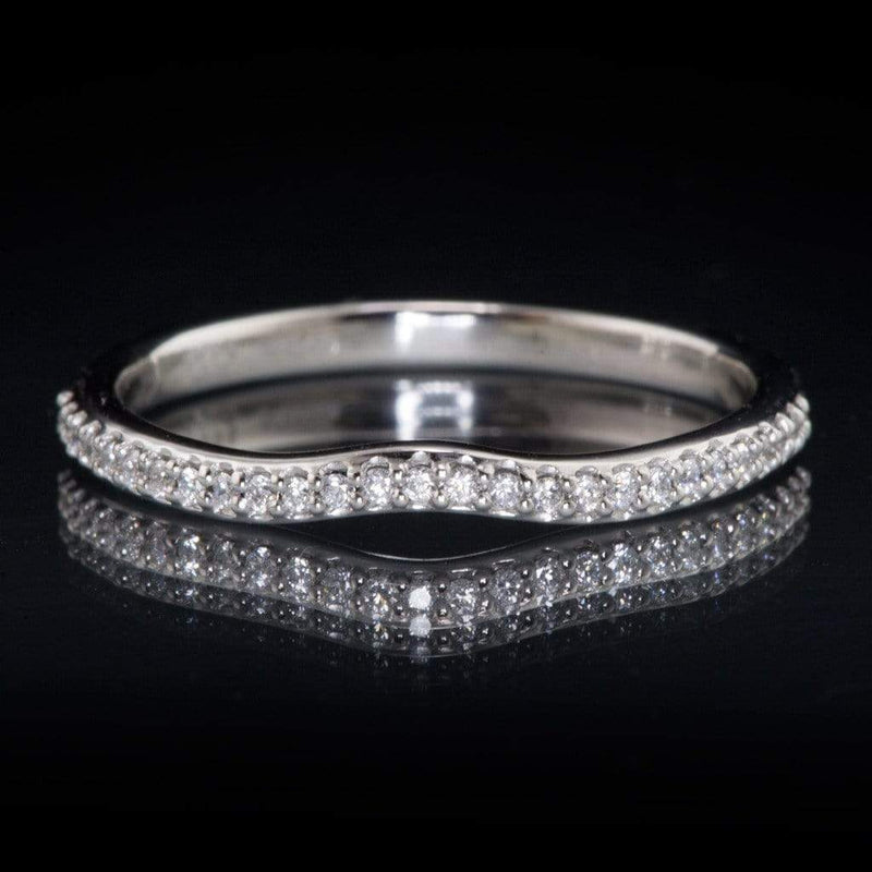 Half Eternity Diamond Micro Pave Wedding Ring, Contoured or Straight Band - by Nodeform
