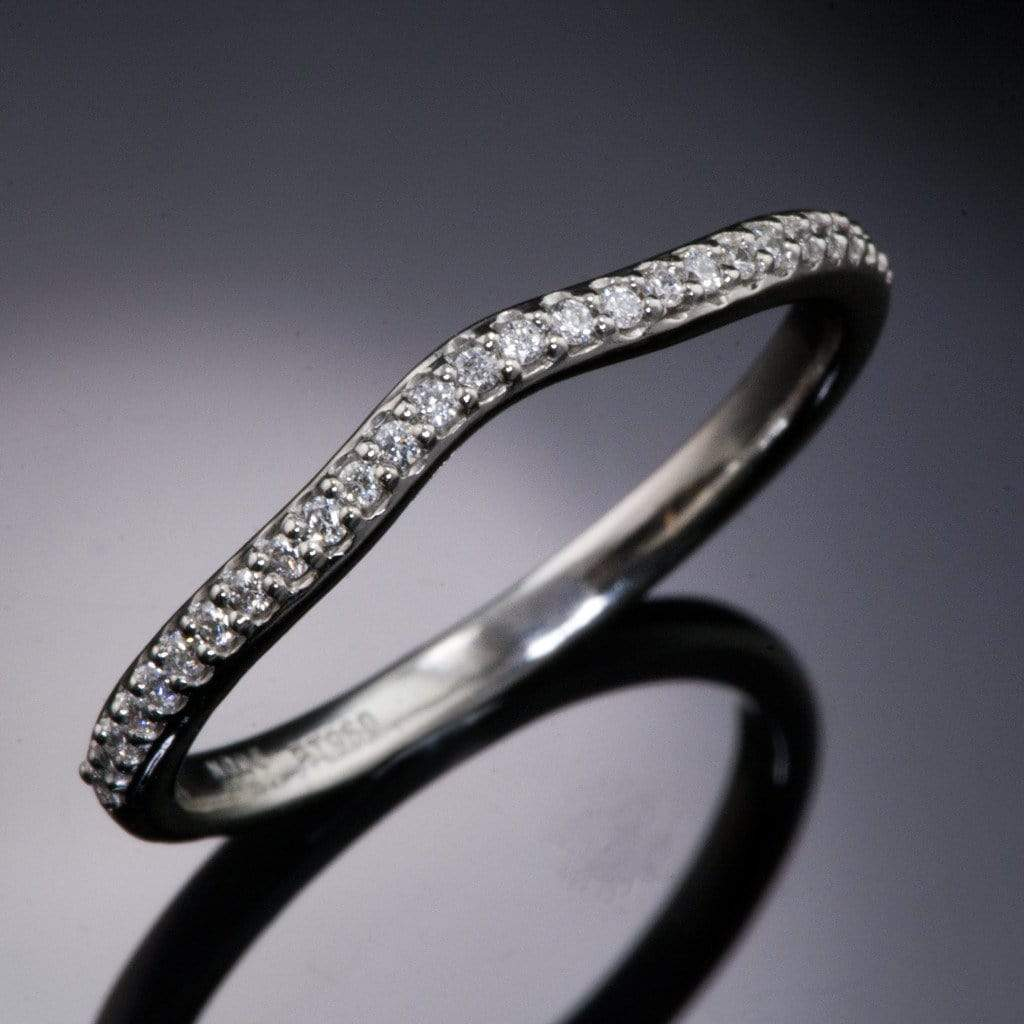 Half Eternity Diamond Micro Pave Wedding Ring, Contoured or Straight Band