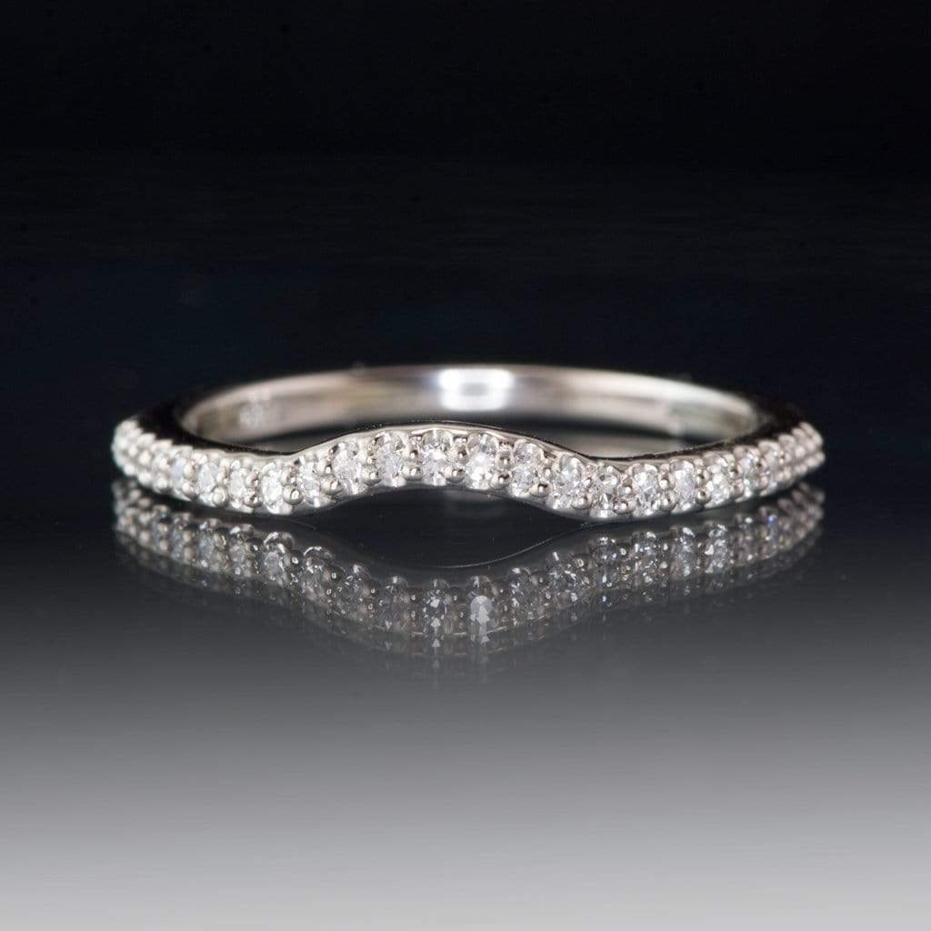 Contoured Half Eternity Diamond Micro Pave Palladium Wedding Ring, Ready to ship size 4-6