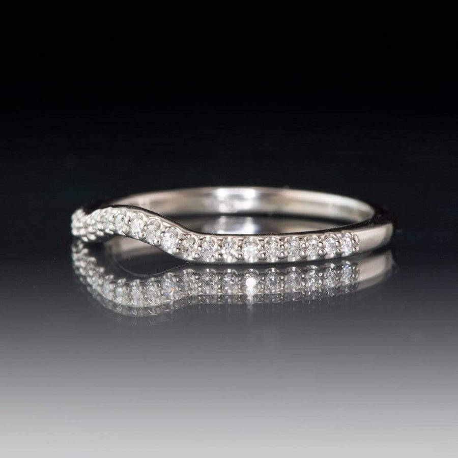 Contoured Half Eternity Diamond Micro Pave Palladium Wedding Ring, Ready to ship size 4-5