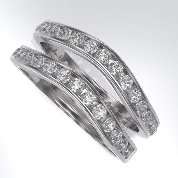 Contoured Moissanite Channel Set Curved Shadow Wedding Band