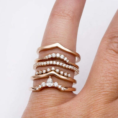 Selene Graduated Diamond Curved Contoured Stacking Wedding Ring in Rose Gold, Ready to Size 4.5-9