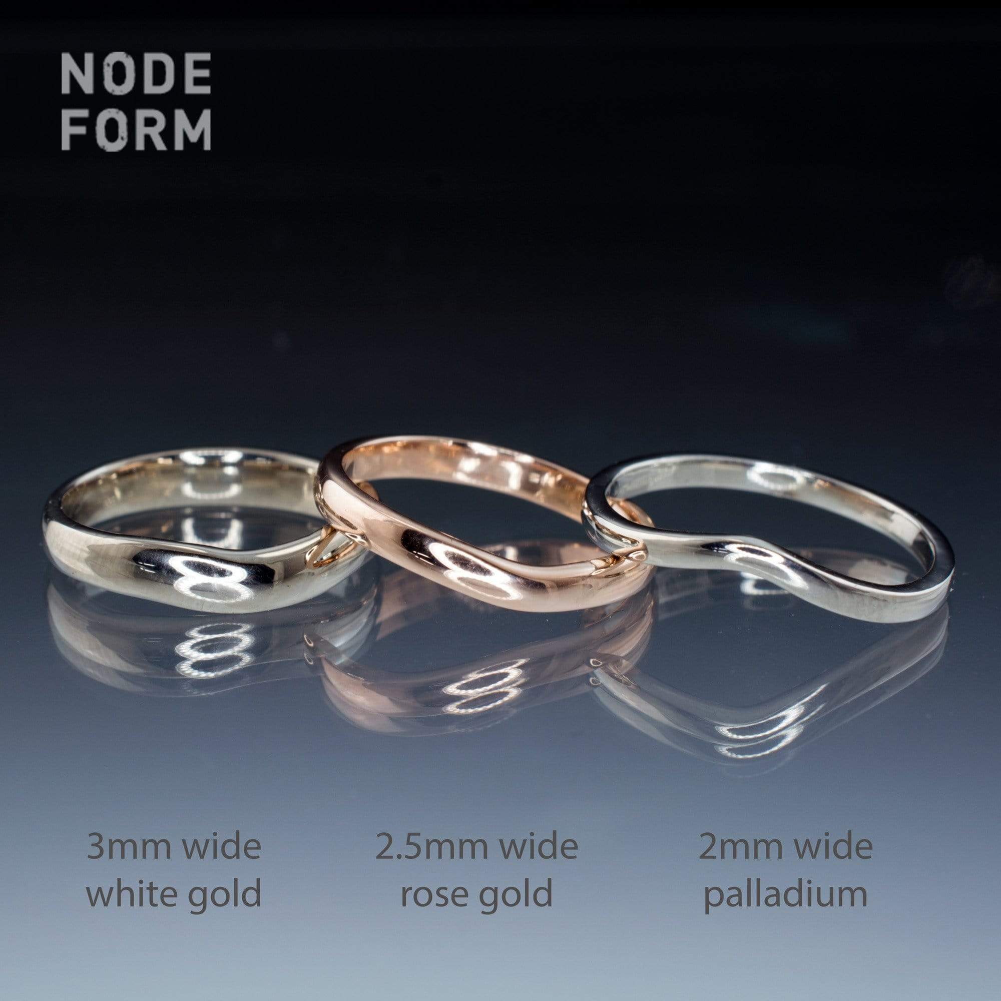 Fitted Contoured Wedding Shadow Band - by Nodeform
