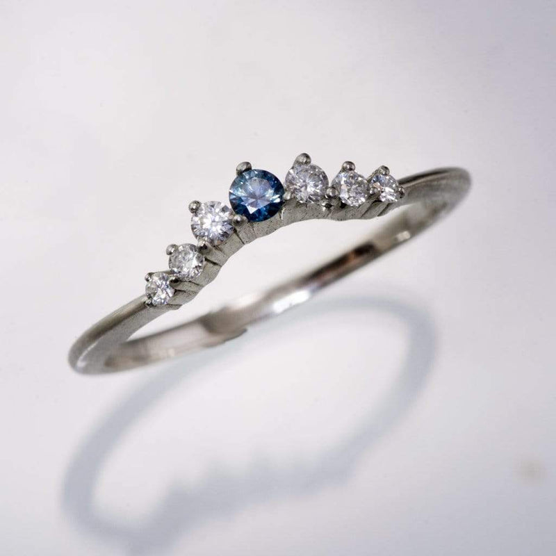Corinne - Montana Sapphire and Diamond, Moissanite or White Sapphire Curved Contoured Wedding Ring