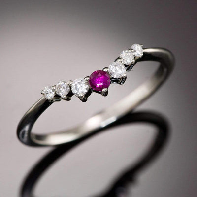 Ruby Corinne - Ruby and Diamond, Moissanite or White Sapphire Curved Contoured Wedding Ring