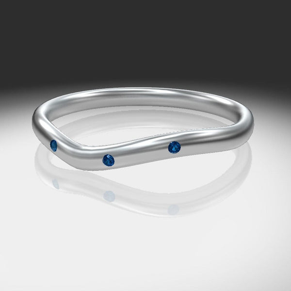 Narrow 3 Blue Sapphires Contoured Shadow Wedding Ring